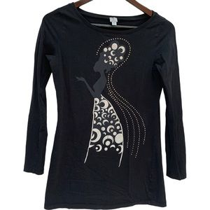 Tristan Graphic Tee/Top Black Long Sleeves Size M
